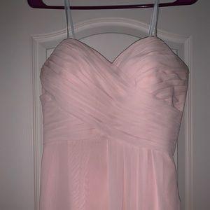 Long Light pink bridesmaid dress